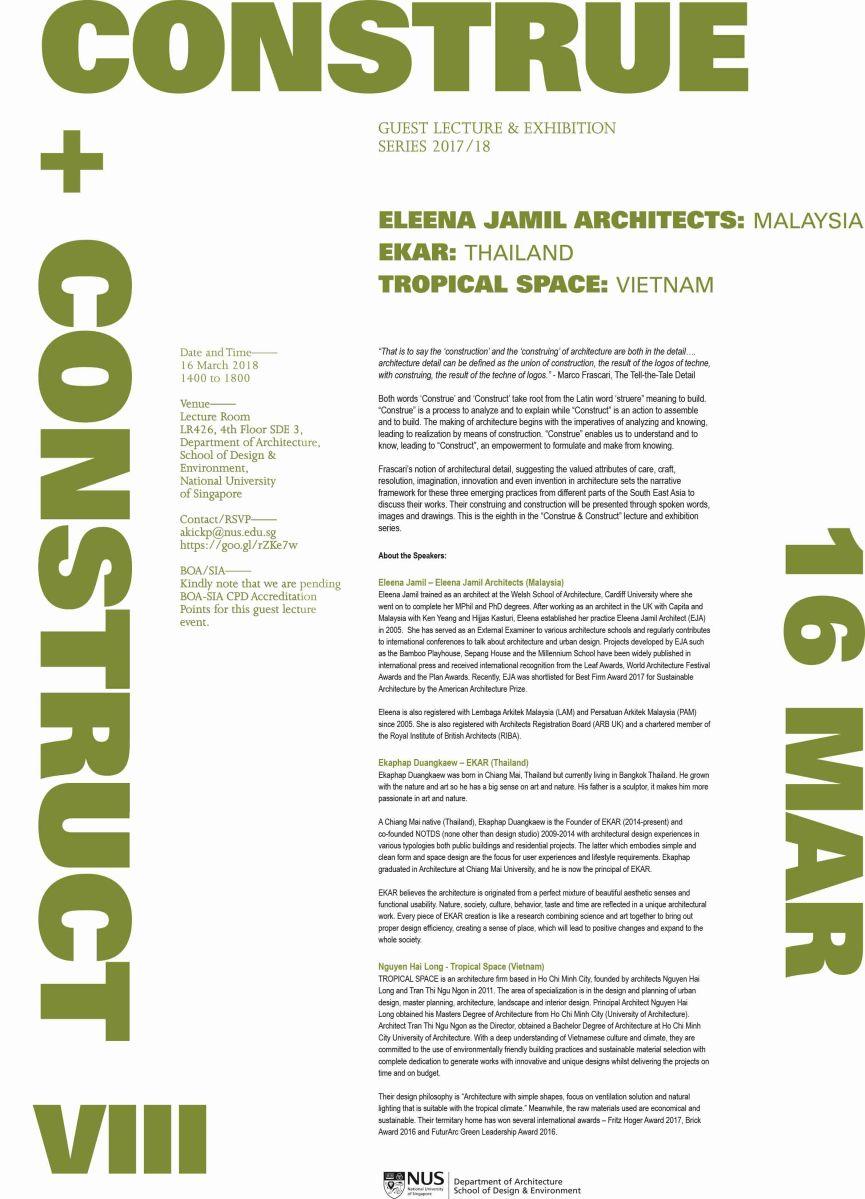 Lecture & Exhibition: Construe & Construct | ELEENA JAMIL